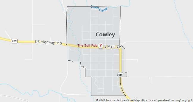 Map of Cowley, WY