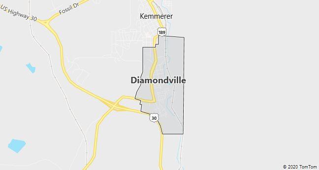 Map of Diamondville, WY