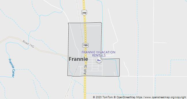 Map of Frannie, WY
