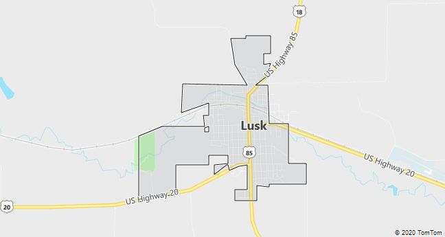 Map of Lusk, WY