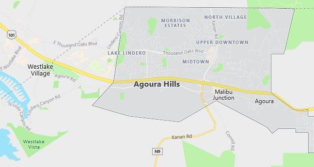 Map of Agoura Hills, CA