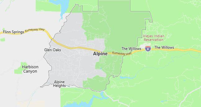 Map of Alpine, CA