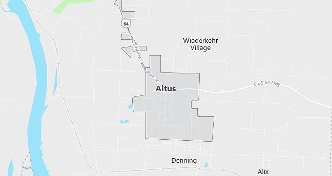 Map of Altus, AR
