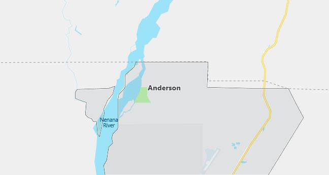 Map of Anderson, AK
