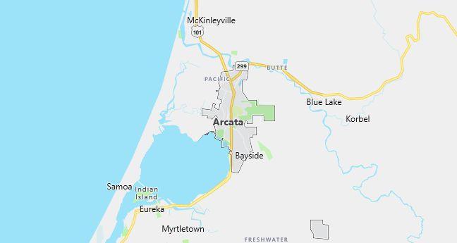 Map of Arcata, CA