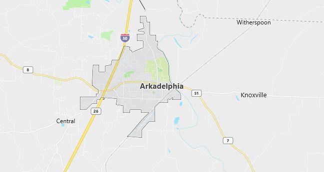 Map of Arkadelphia, AR