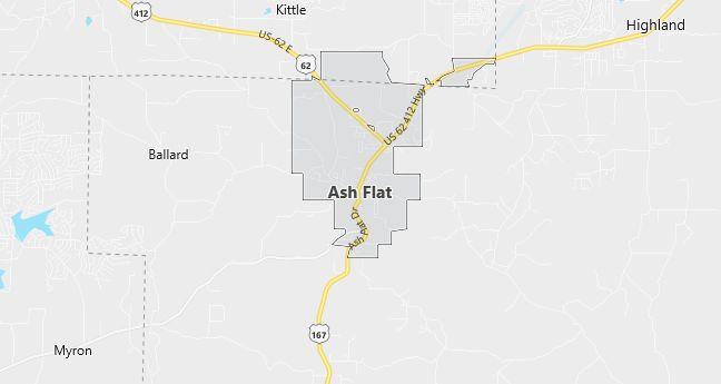 Map of Ash Flat, AR