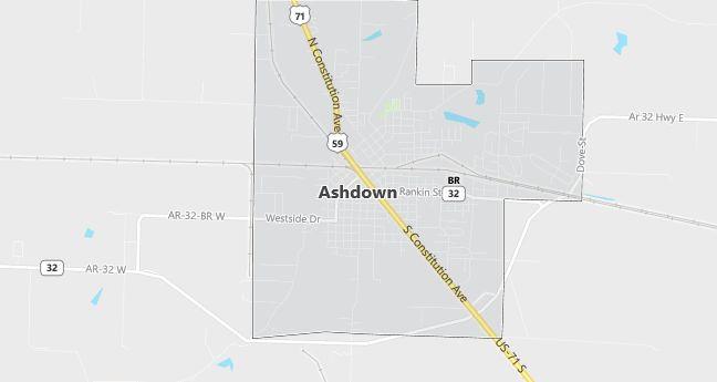 Map of Ashdown, AR