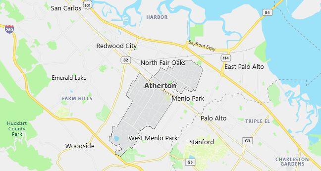 Map of Atherton, CA