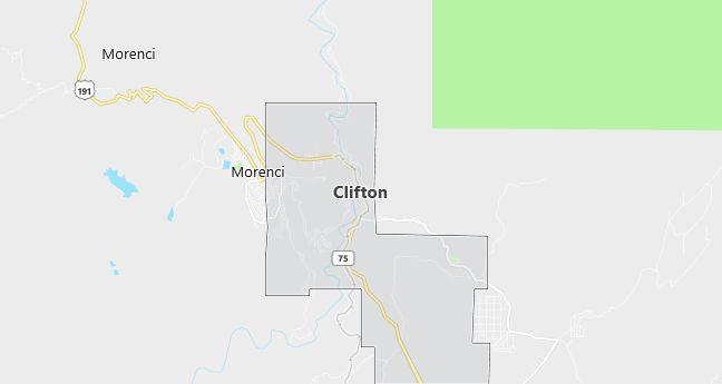Map of Clifton, AZ