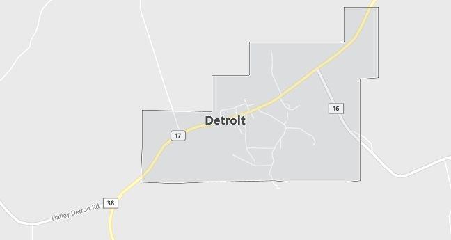 Map of Detroit, AL