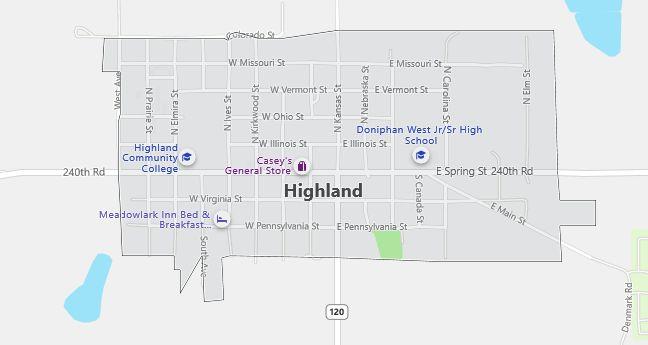 Map of Highland, KS