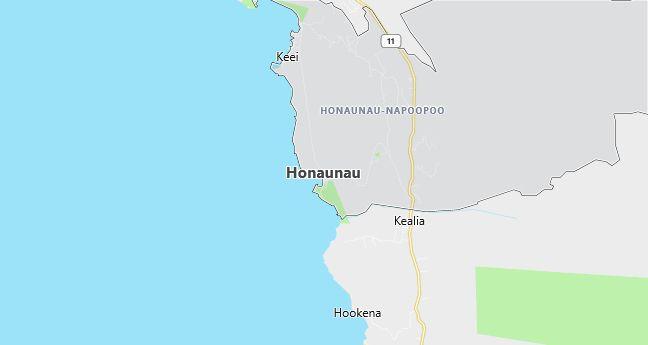 Map of Honaunau, HI