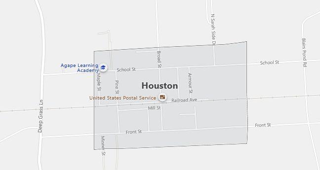Map of Houston, DE