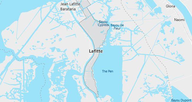 Map of Lafitte, LA