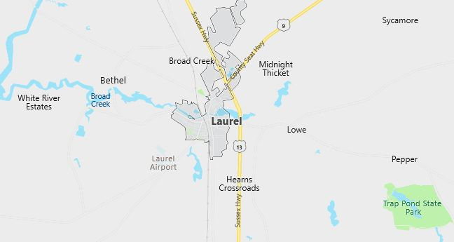 Map of Laurel, DE