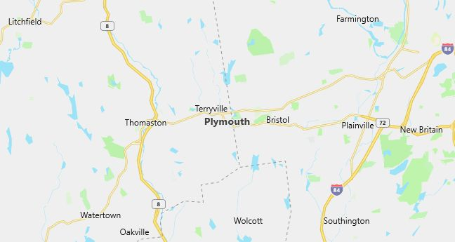 Map of Plymouth, CT