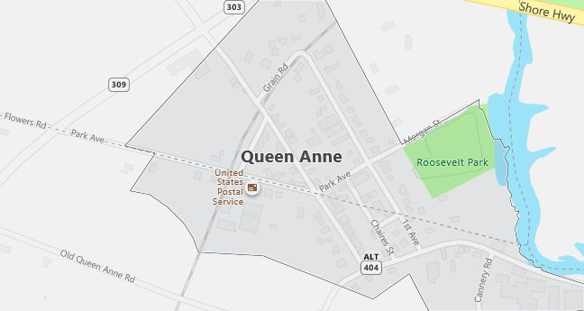 Map of Queen Anne, MD