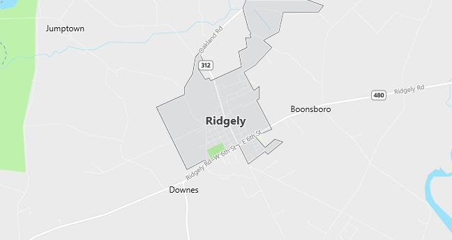 Map of Ridgely, MD