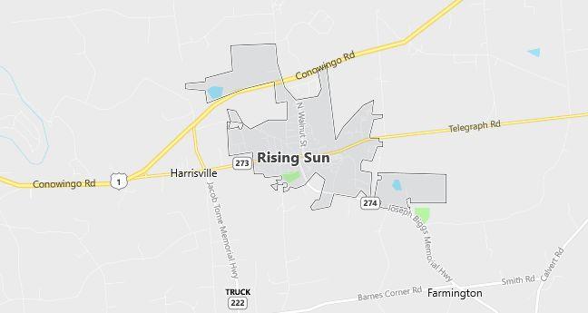 Map of Rising Sun, MD