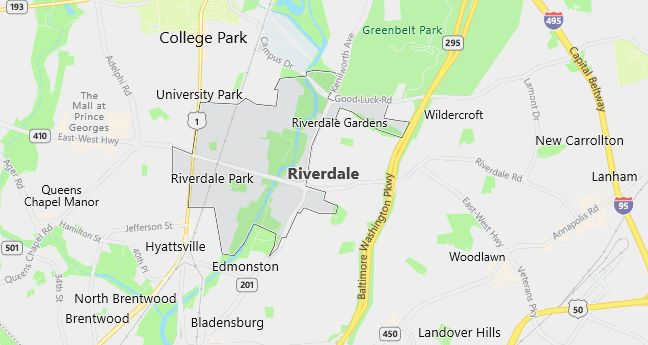 Map of Riverdale, MD