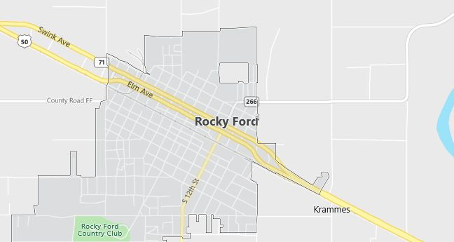 Map of Rocky Ford, CO