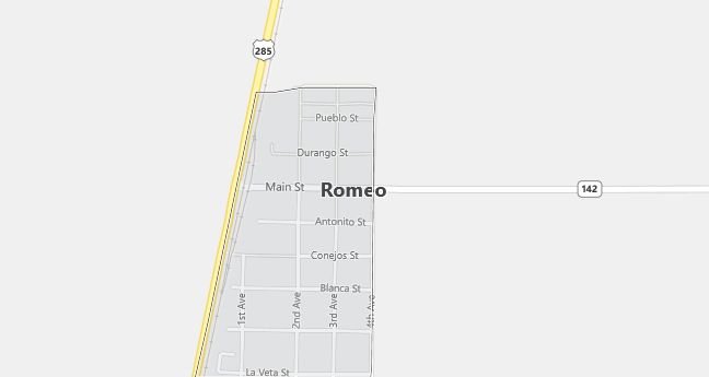Map of Romeo, CO