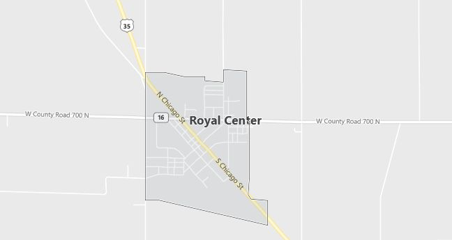 Map of Royal Center, IN