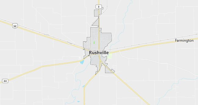 Map of Rushville, IN