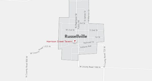 Map of Russellville, IN