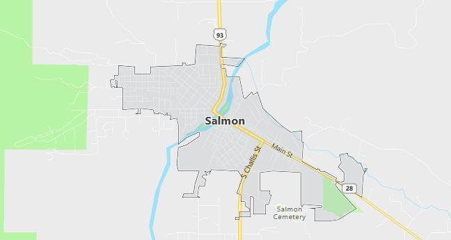 Map of Salmon, ID