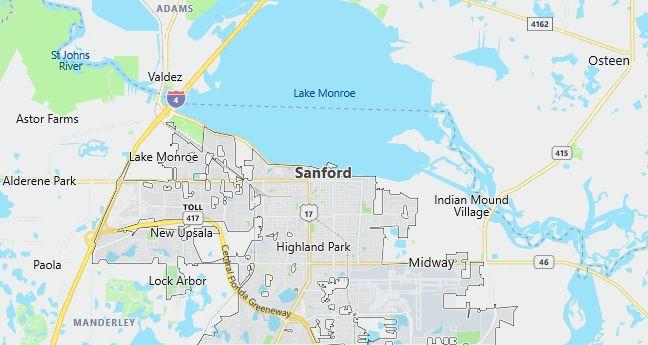 Map of Sanford, FL