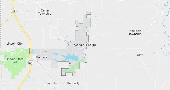 Map of Santa Claus, IN