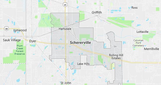 Map of Schererville, IN