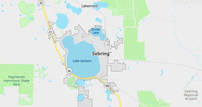 Map of Sebring, FL