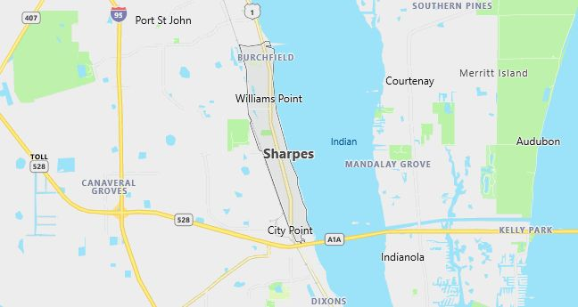 Map of Sharpes, FL