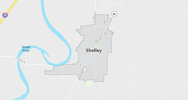 Map of Shelley, ID
