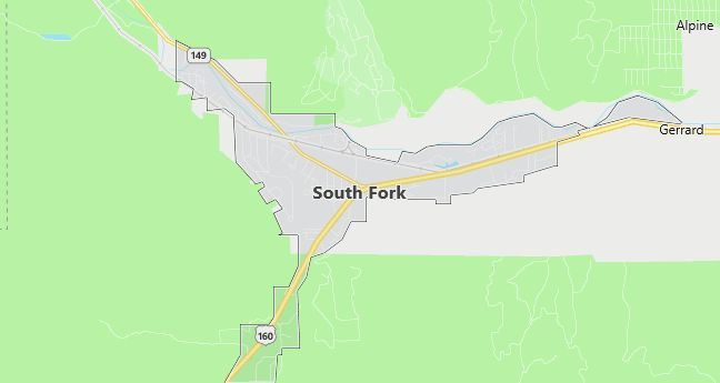 Map of South Fork, CO