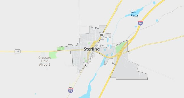 Map of Sterling, CO