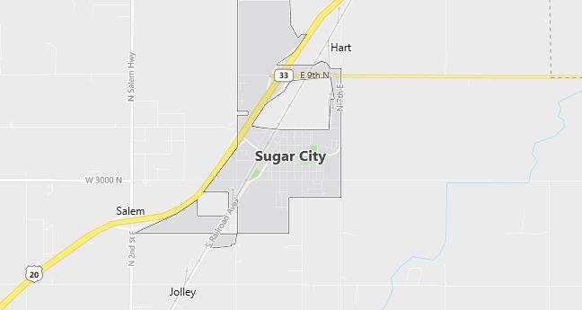 Map of Sugar City, ID