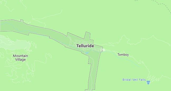 Map of Telluride, CO