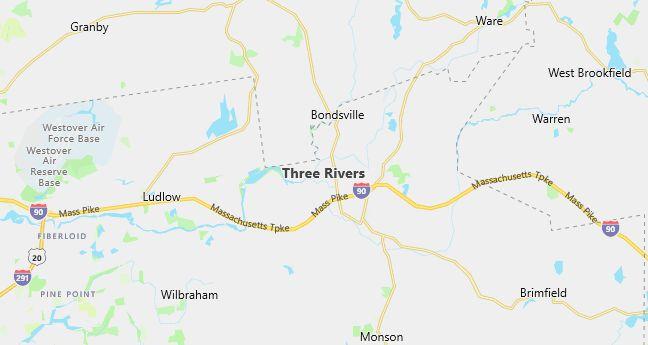 Map of Three Rivers, MA