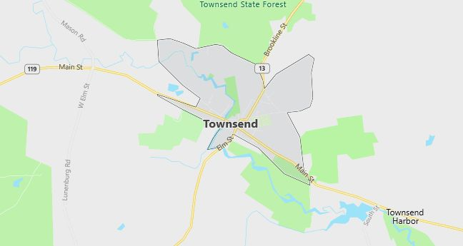 Map of Townsend, MA
