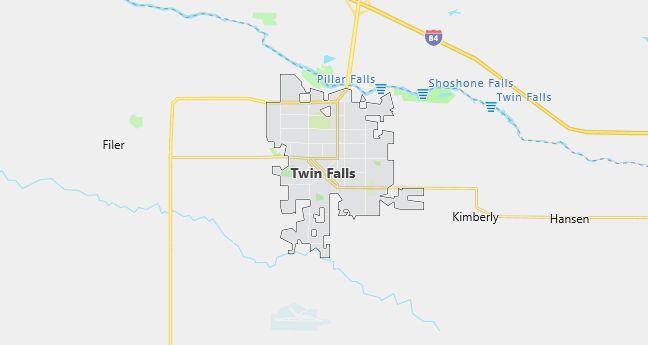 Map of Twin Falls, ID