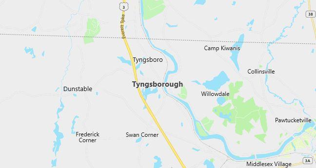 Map of Tyngsboro, MA
