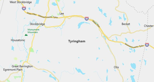 Map of Tyringham, MA