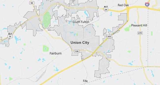 Map of Union City, GA