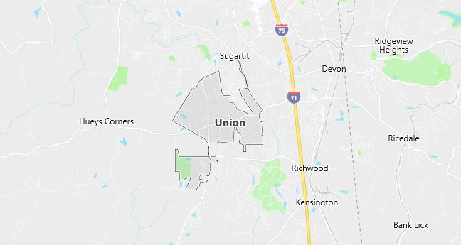 Map of Union, KY