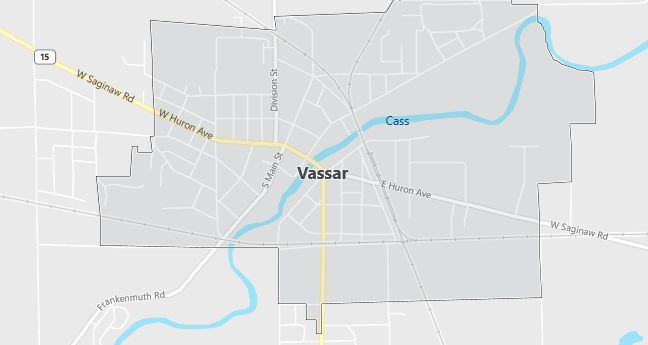 Map of Vassar, MI