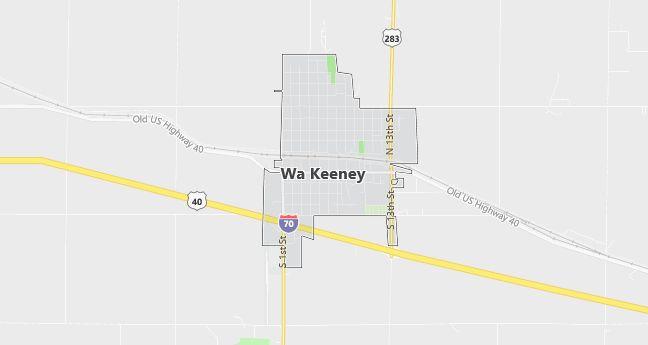 Map of Wa Keeney, KS